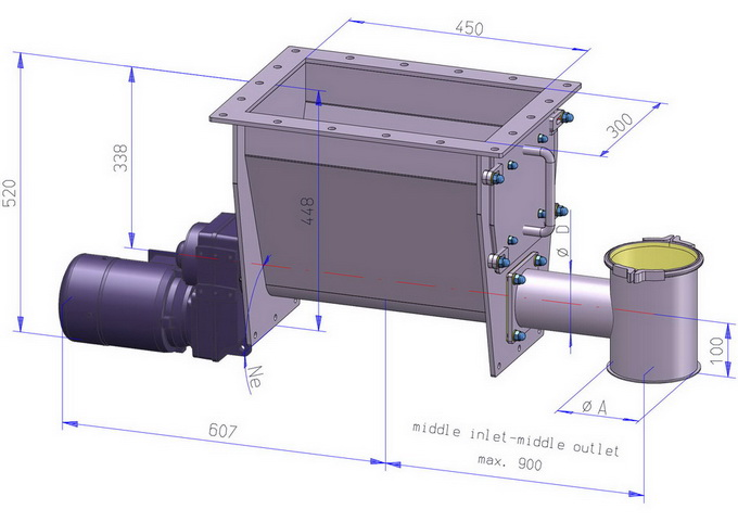 Dimension sheet screw feeder DRS...G basic configuration