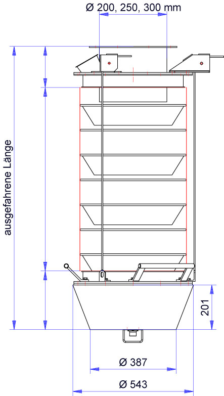 Dimensions of loading bellows