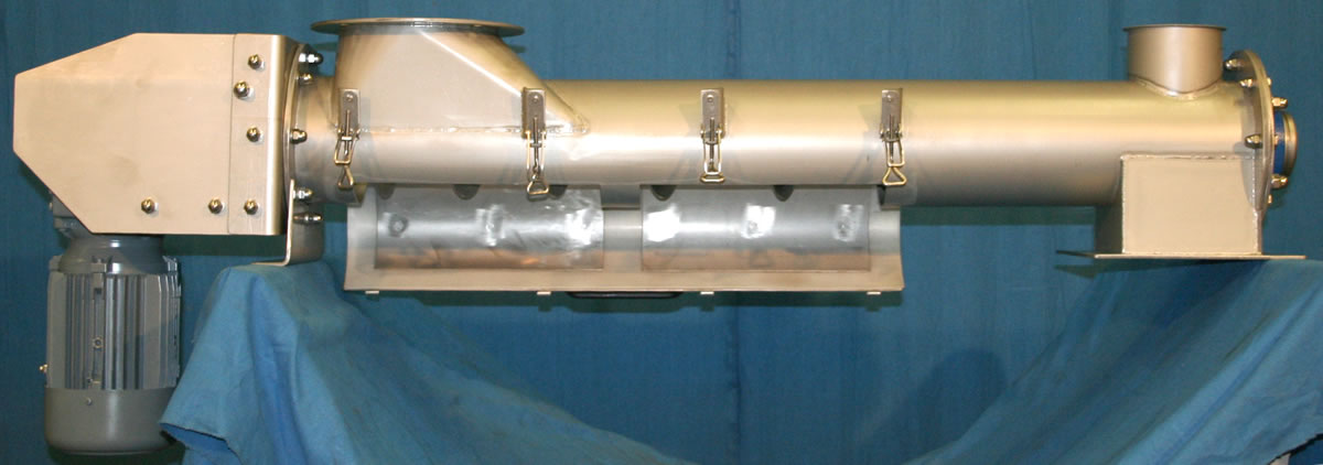Tubular screw conveyor with hinged bottom and round inlet